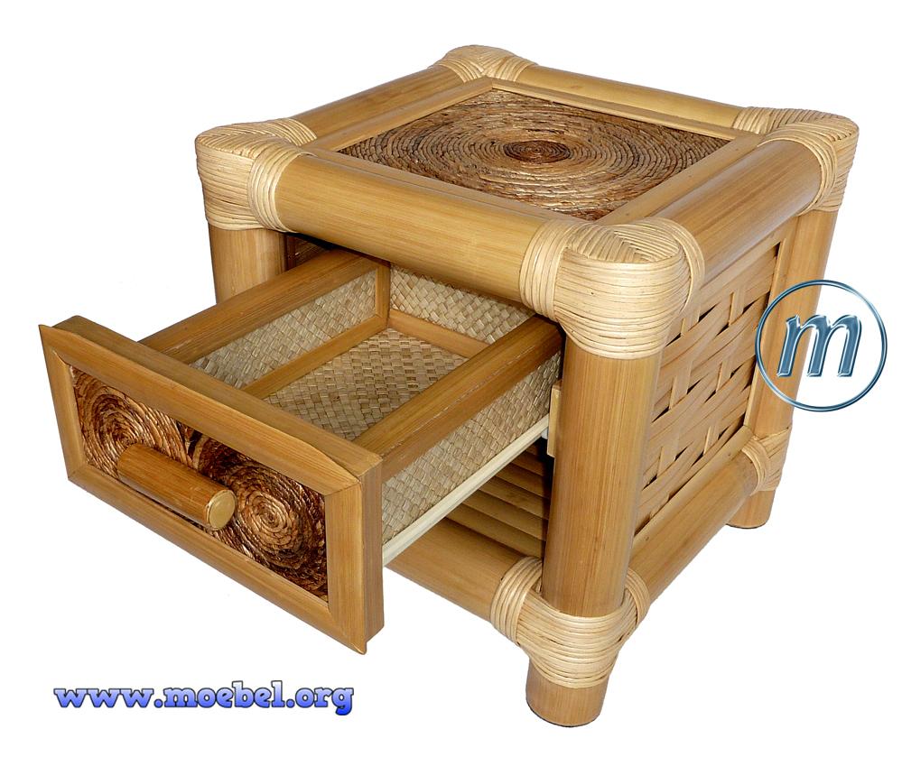 nachtk stche heller bambus lade bananenblatt geflecht. Black Bedroom Furniture Sets. Home Design Ideas