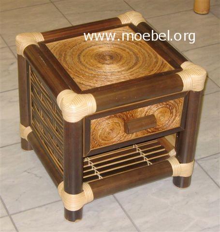 bambusm bel nachtk stchen aus schwarzem bambus mit lade. Black Bedroom Furniture Sets. Home Design Ideas