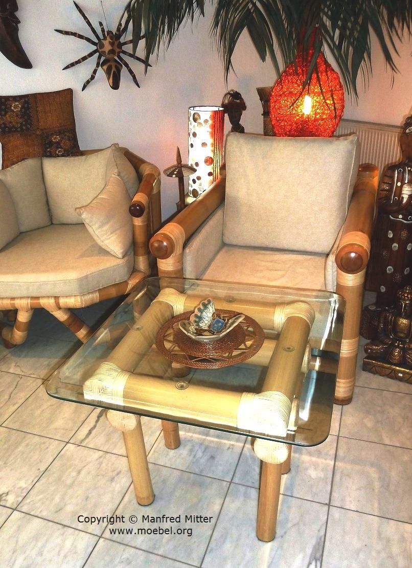 Wohnzimmertische aus bambus couchtisch open top for Sessel quadratisch
