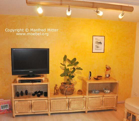 wohnzimmerm bel aus bambus wohnwand mit tv bereich. Black Bedroom Furniture Sets. Home Design Ideas