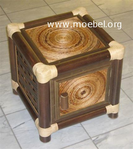bambusm bel nachtk stchen aus schwarzem bambus mit t r. Black Bedroom Furniture Sets. Home Design Ideas