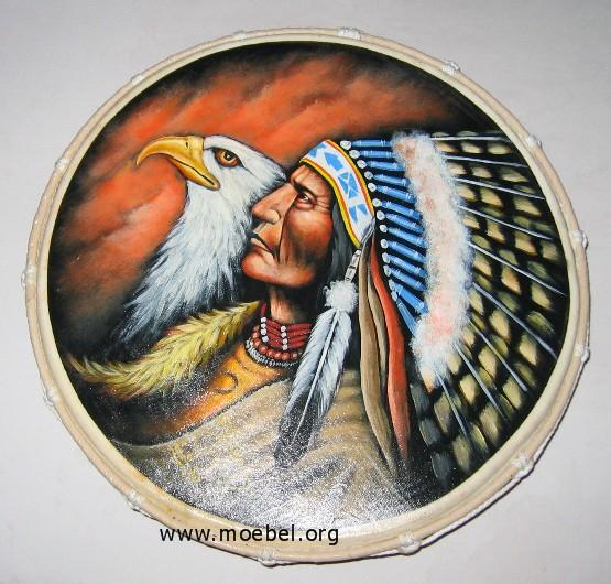 Schamanische Trommeln Flach 40 Cm Motiv Indianer Adler Kl Orggalerie
