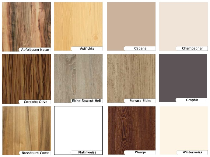 farben furniere dekore f r die tischplatten zuschnitte. Black Bedroom Furniture Sets. Home Design Ideas